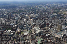 Manchester high level view of Piccadilly Gardens in the foreground looking down Mosley Street and Portland Street and the Arn...