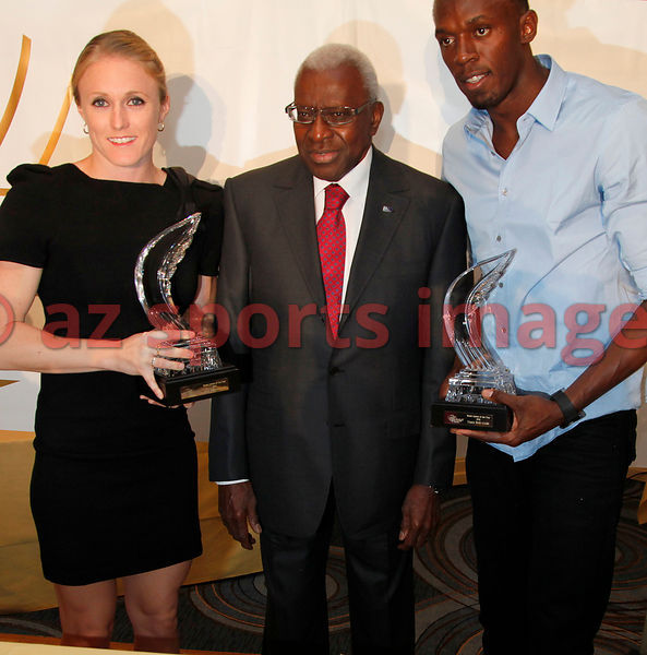 Sally Pearson, Lamine Diack and Usain Bolt IAAF Gala Monaco - Athlete of the year event