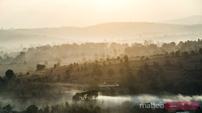 Misty sunrise over the valleys of Shan state, Myanmar