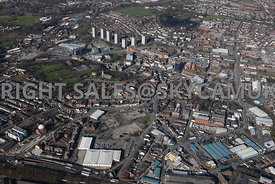 Rochdale high level aerial photograph looking down Oldham road towards the Rochdale town centre
