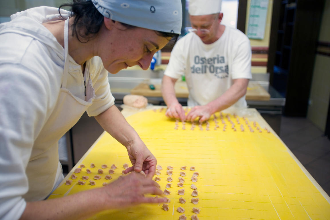 Italy - Bologna - Chefs Roberta and Laura make tortellini