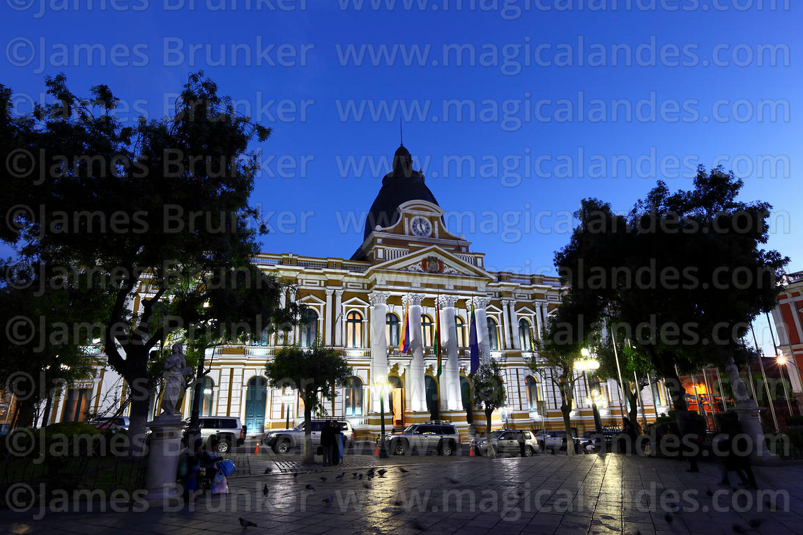 Congress building lit up after sunset, Plaza Murillo, La Paz, Bolivia
