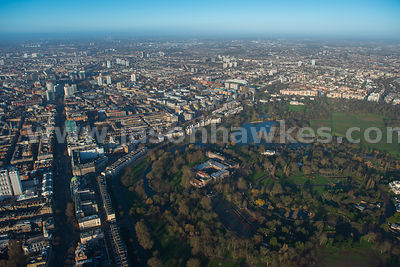 Aerial view of Regents Park and St Johns Wood, London