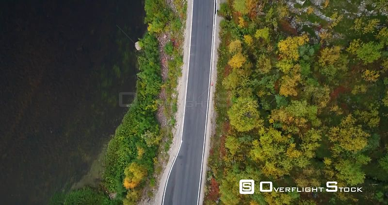 Autumn Color Road, Aerial Tilt View of a Car and a Trailer, on 970 the Tenontie Road Full of Different Fall Colors, Near Teno...