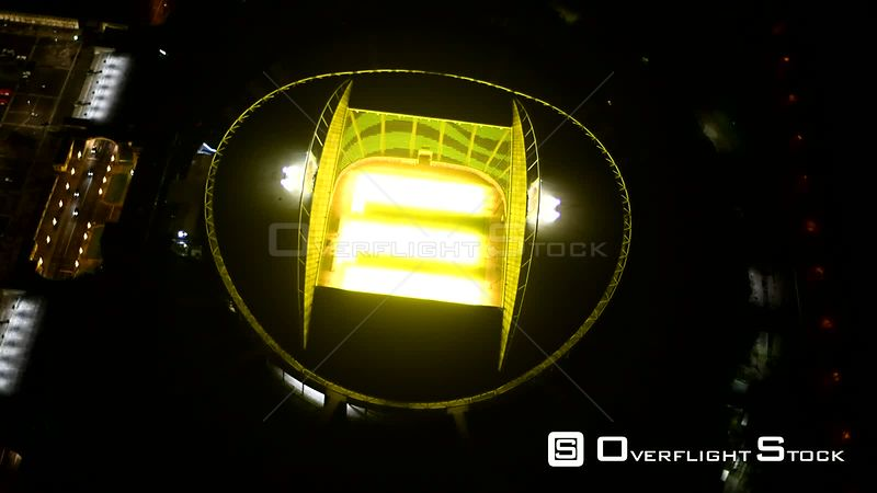 Night aerial video sports facilities terrain of the arena of the stadium in Leipzig in the federal state of Saxony