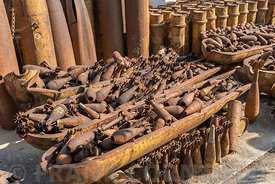 Rusty metal bomb casings and defused unexploded ordnance found in Phonsavan, Xieng Khouang Province, Laos.