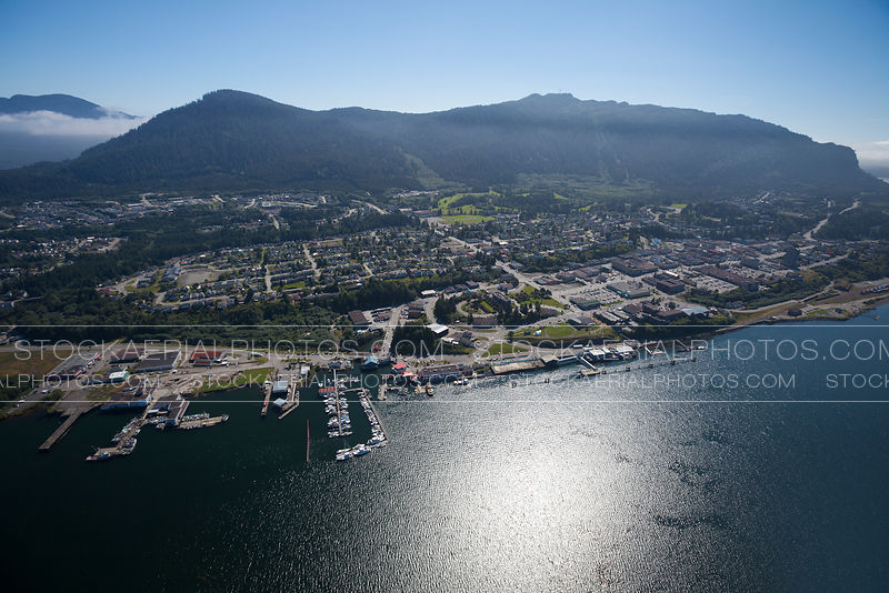 Aerial photo of downtown Prince Rupert, British Columbia.