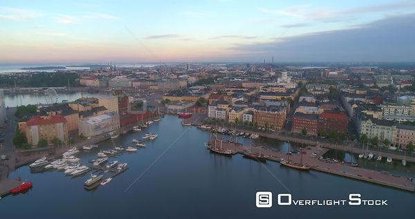 Sunrise City, Aerial View Towards the Cityscape and Churches of Helsinki, on a Sunny Summer Morning Dawn, in Helsinki, Uusima...