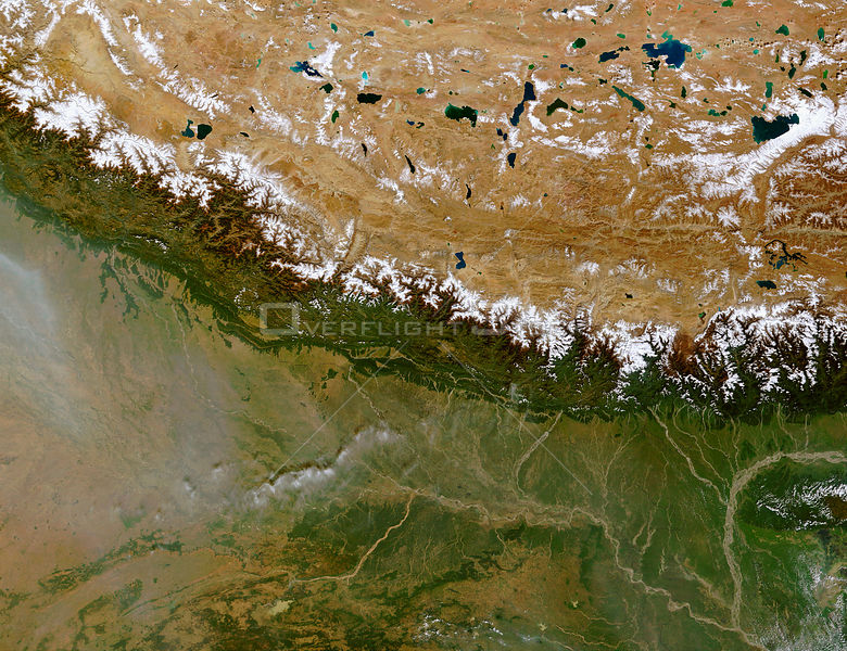 EARTH Great Himalayan Range -- 27 Oct 2002 -- The Himalayan Mountain Range runs a curving path from west to east in this true...