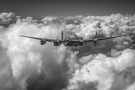 Avro Lancaster above clouds BW version