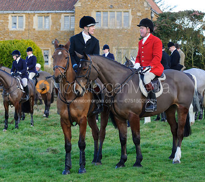 James Henderson and Tom Kingston MFH at the meet - The Belvoir Hunt at Waltham House