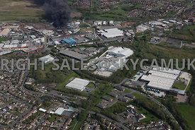 Oldham aerial photograph of  Leonard Way Salmon Fields with Higginshaw Lane in the background