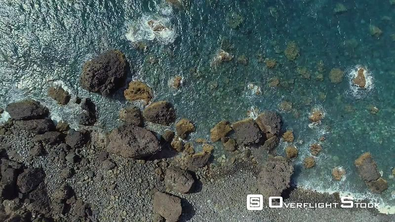 Vertical Veiw of Ocean Rocky Shore Madeira Island Drone Video Portugal