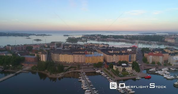 Morning in a City, Aerial Sideway View of the Cityscape of Katajanokka Bay, on a Sunny Summer Sunrise and Dawn, in Helsinki, ...