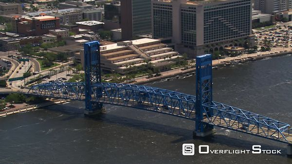 Aerial view of Main Street bridge and skyscrapers, Jacksonville, Florida.