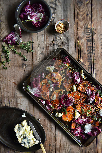 Honey and lemon thyme roasted pumpkin with blue cheese and radicchio