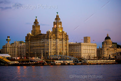 The Three Graces in Liverpool at Dusk