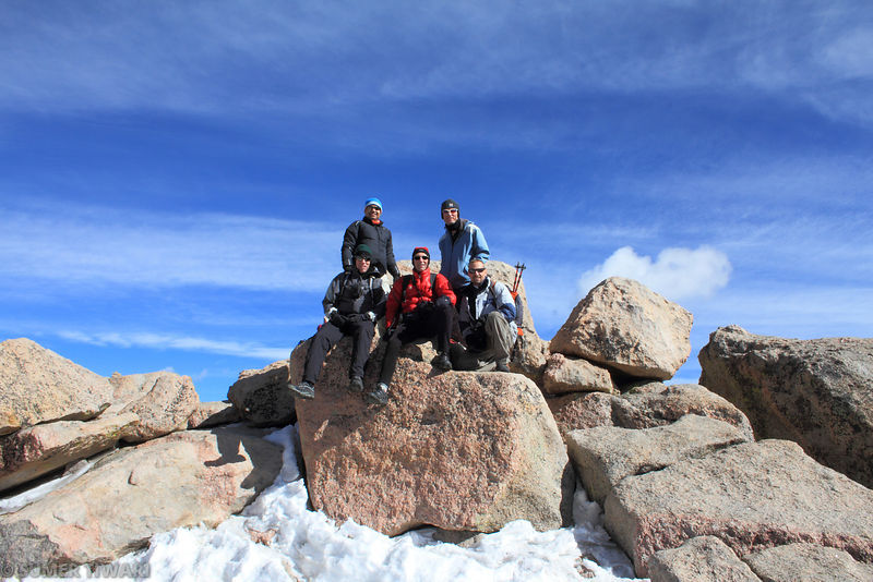 Our team on the summit of Mt Evans.