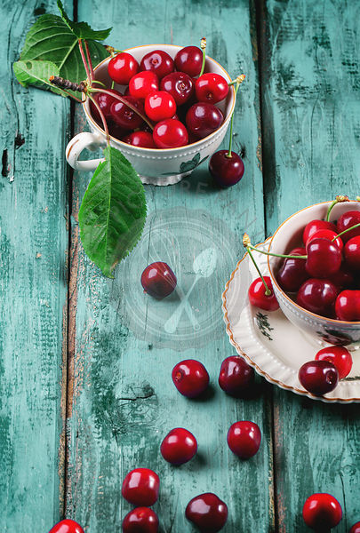 Fresh cherries in vintage tea cup