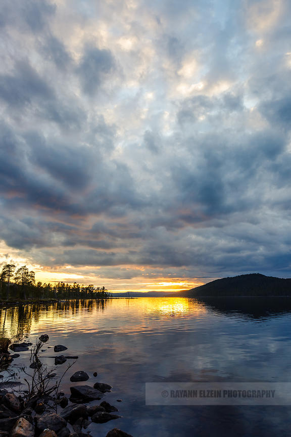 Clouded midnight sun at Ukonjärvi near Ivalo