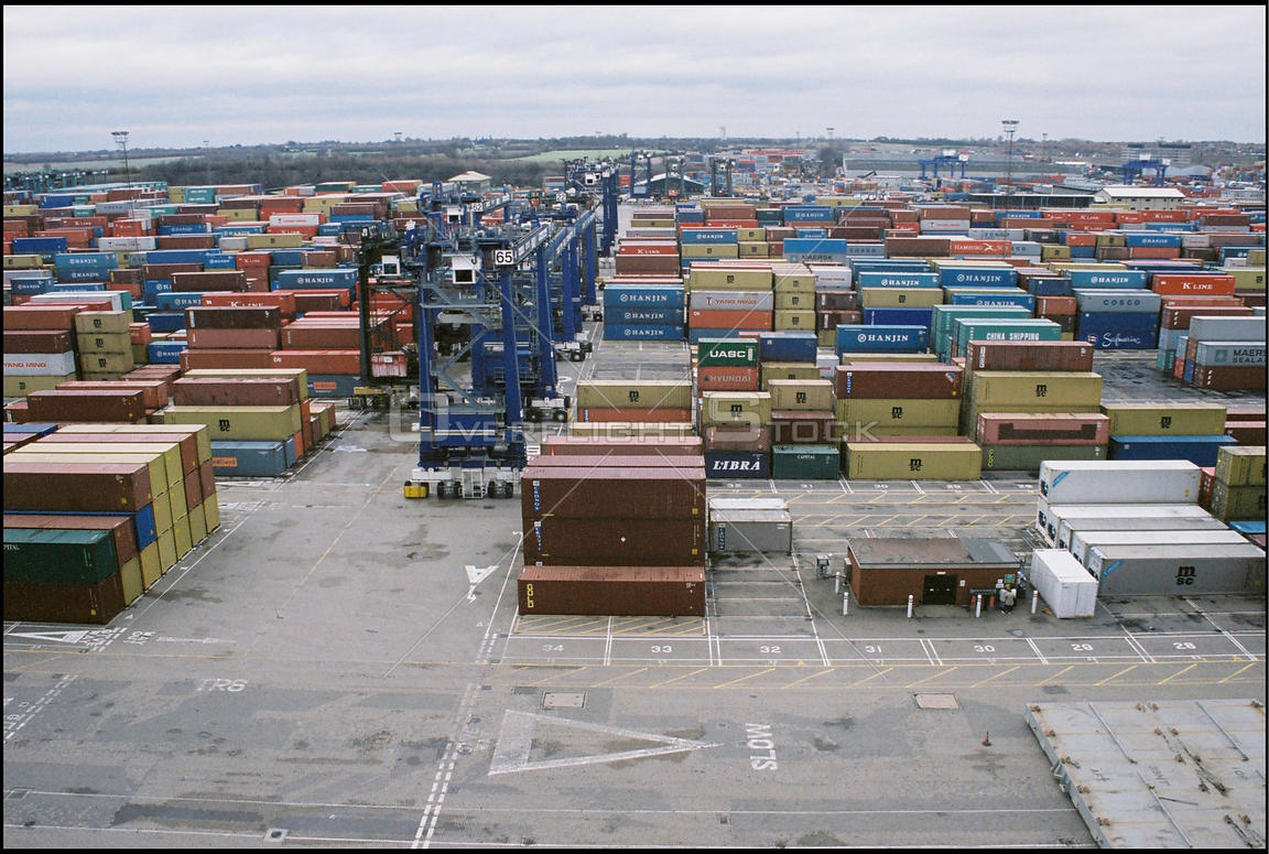 UK Felixstowe -- Jan 2004 -- Container patio at the port. It is at a standstill due to high winds on this day, though Britain