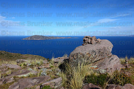 Taquile Island, seen from summit of Cerro Carus, Capachica Peninsula, Lake Titicaca, Peru