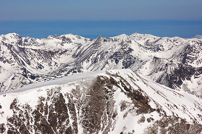 Aerial view of the Chamar-Daban mountain range, Baikal Nature Reserve, Buryatia, Siberia, Russia, May 2015.