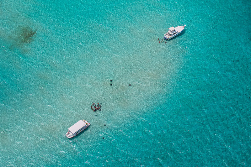 Aerial view of Stingray City, Grand Cayman. Stingray City is feeding site for Southern stingrays (Hypanus americanus) Cayman ...