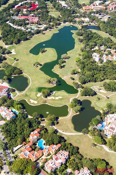 Aerial of golf course, Playa del Carmen, Mexico