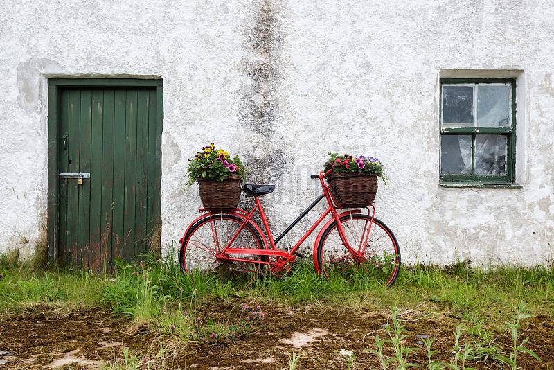 Red Bicycle Against White Wall