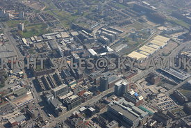 Manchester high level view of Ancoats new developments and Central Retail Park New Islington