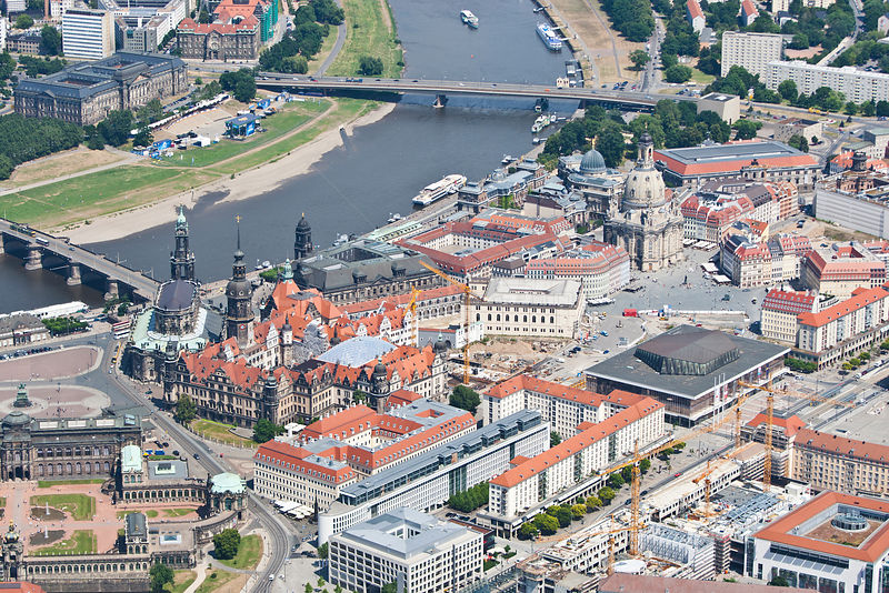 Aerial view of the historic city centre of Dresden, with Augustus Bridge and Carola Bridge over the river Elbe, Saxony, Germa...