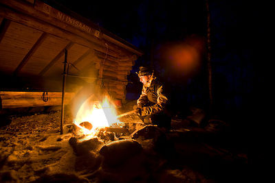 Hiker by the fire