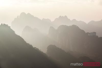 Huangshan mountains at sunset, China