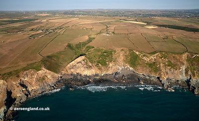 South West Coast Path at Tregardock Beach aerial photograph