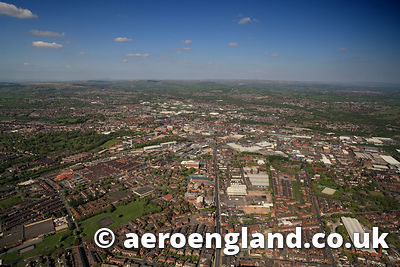 aerial photograph of Bolton Lancashire  England UK