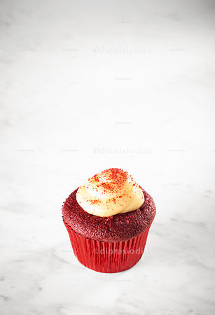 Cup Cake Red Velvet isolated on marble background
