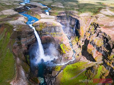 Aerial drone view of Haifoss waterfall in summer, Iceland