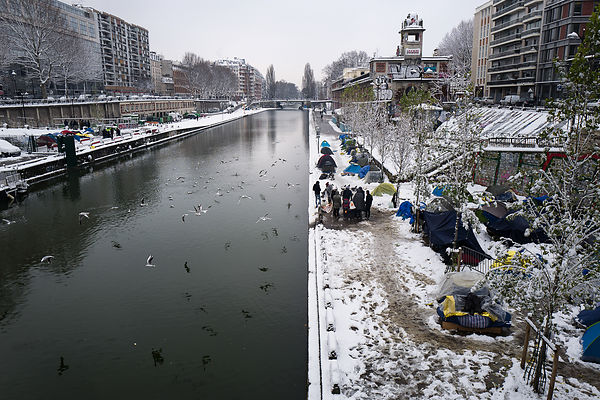 Camp Migrants Jaures sous la neige