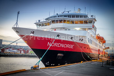 The Hurtigruten Nordnorge ship anchored at Trondheim Harbour