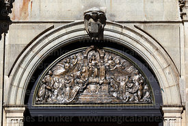 Bronze relief of Our Lady of Peace / Nuestra Señora de La Paz on tympanum above main entrance of cathedral, La Paz, Bolivia