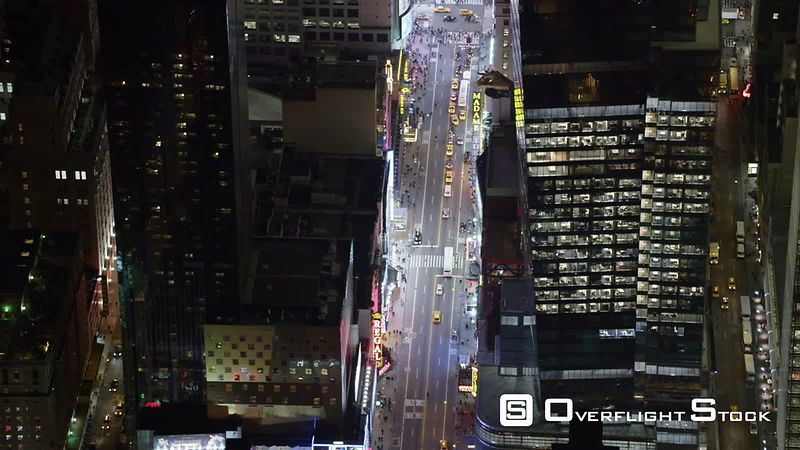 Over Midtown Manhattan Streets at Night.
