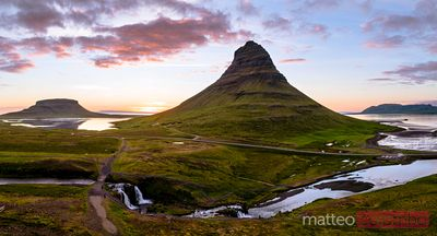 Aerial drone panoramic of mount Kirkjufell at sunset, Iceland