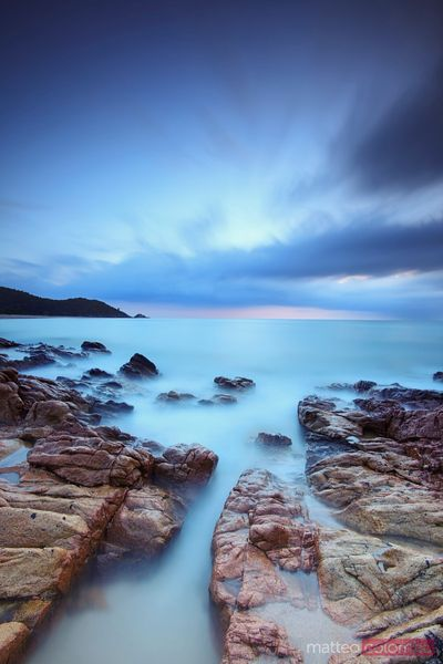 Mediterranean sea before sunrise, Corsica, France