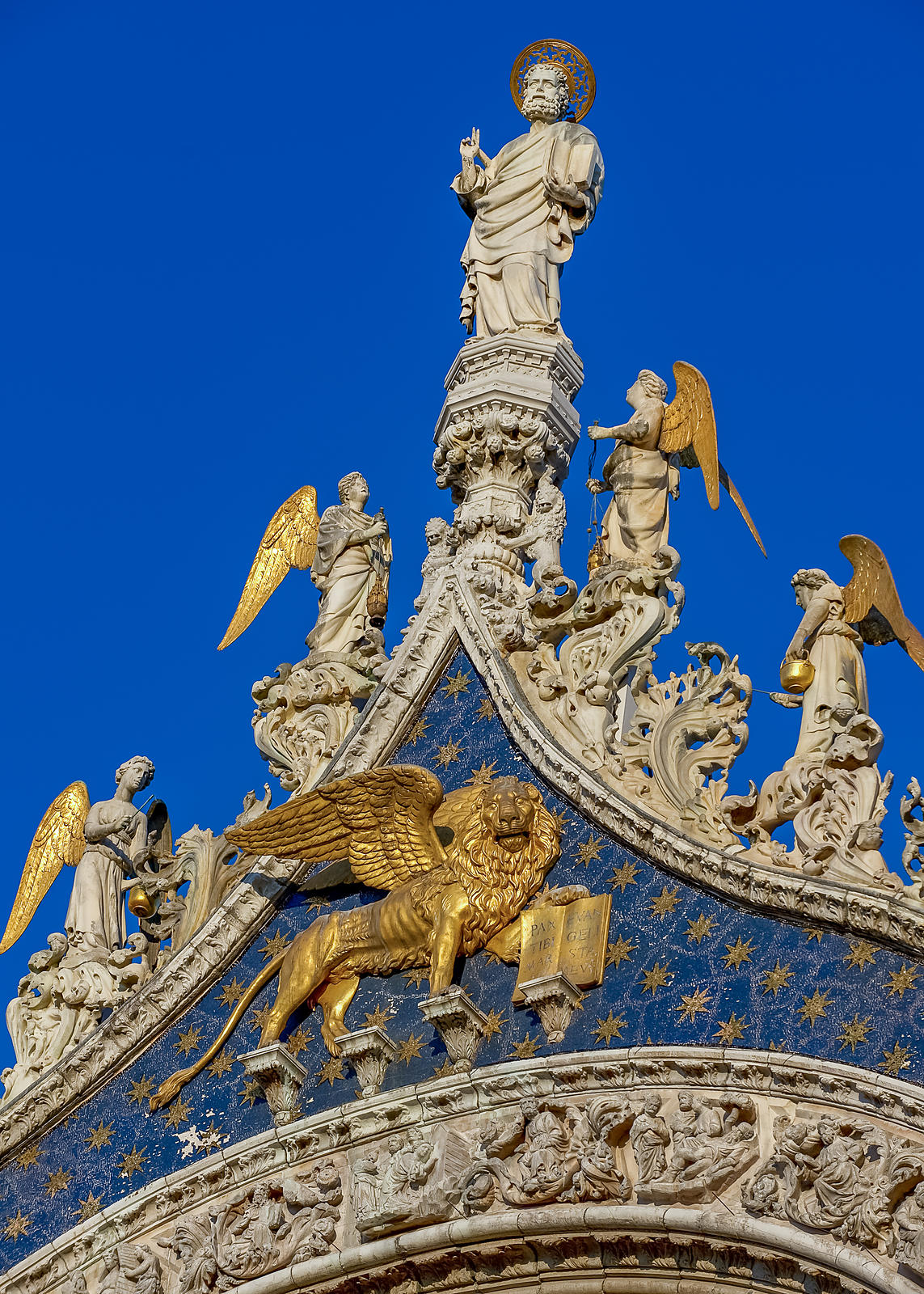 St Mark & Angels Carved Statues on top of the Basilica di San Marco, Venice