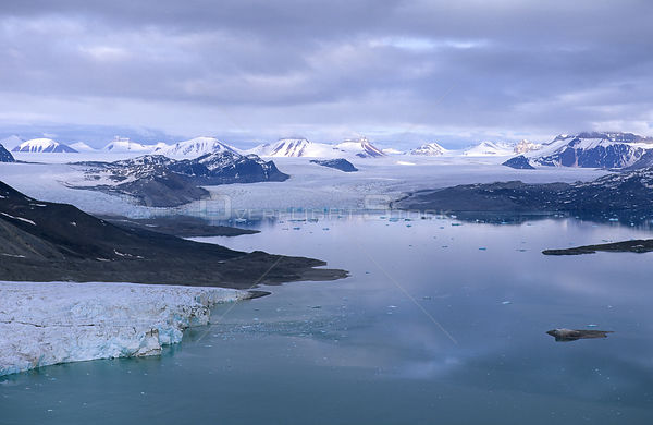 Aerial view of Blomstand glacier in King's bay, Spitzbergen, Svalbard Archipelago, Norway, July 2000