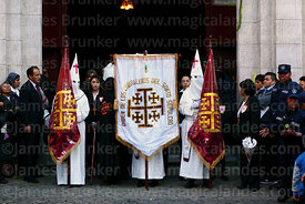 Members of the Order of Knights of the Holy Sepulchre in La Merced church entrance at start of Good Friday procession, La Paz...