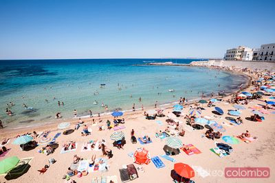 Beach near the old town, Gallipoli, Salento, Apulia, Italy