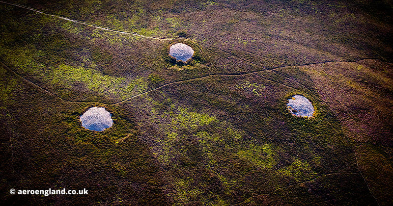 Joaney How and Robin How Burial Cairns, Dunkery Hill in the Exmoor National Park from the air