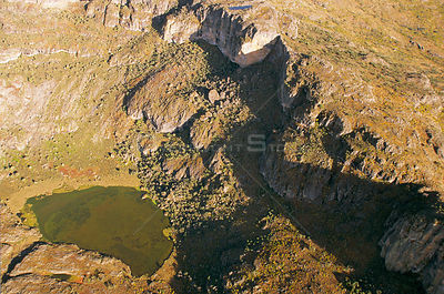 Aerial view of hot springs in the crater of Mount Elgon, West Kenya, 2002